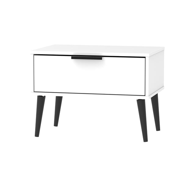 White Chest - 1 Drawer Midi with Black Wooden Legs