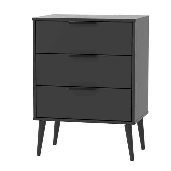 Black 3 Drawer Midi Chest with Black Wooden Legs