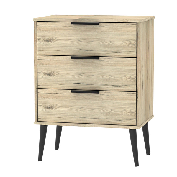 Oak 3 Drawer Midi Chest With Black Wooden Legs