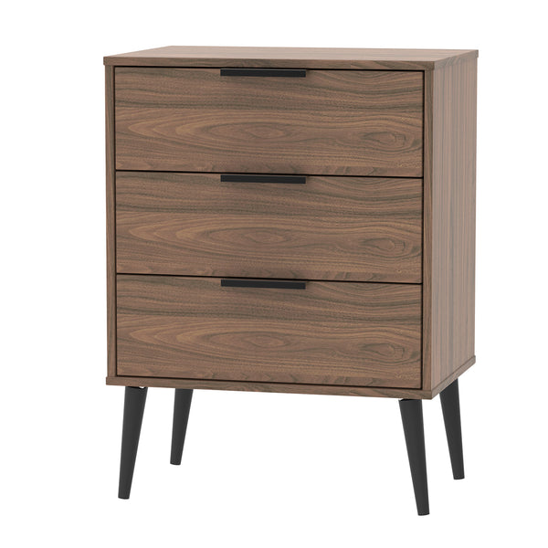 Walnut 3 Drawer Midi Chest with Black Legs and Black Handles