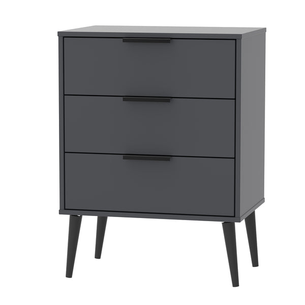 Graphite Midi Chest with 3 Drawer and Black Wooden Legs
