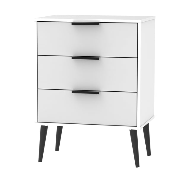 Matt Grey and White 3 Drawer Midi Chest with Black Wooden Legs