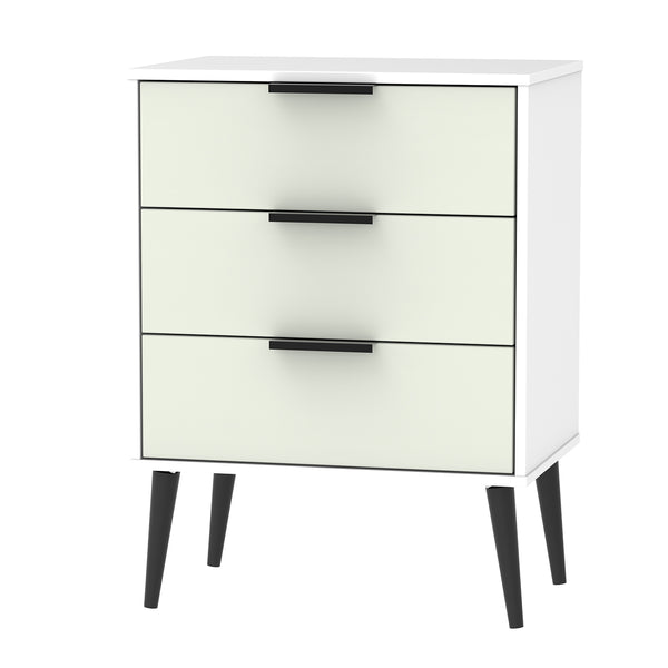 Kaschmir 3 Drawer Midi Chest with Black Handles and Wooden Legs