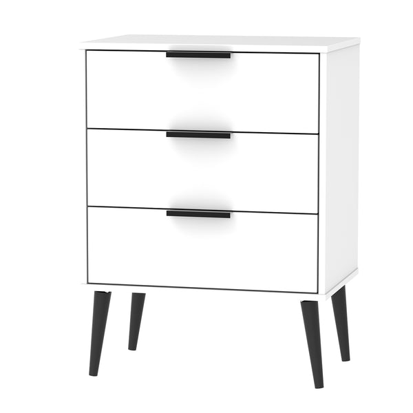 White 3 Drawer Midi Chest With Contrast Black Legs