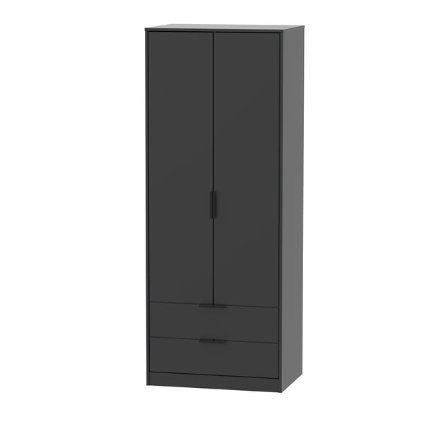 Matt Black 2 Door 2 Drawer Wardrobe