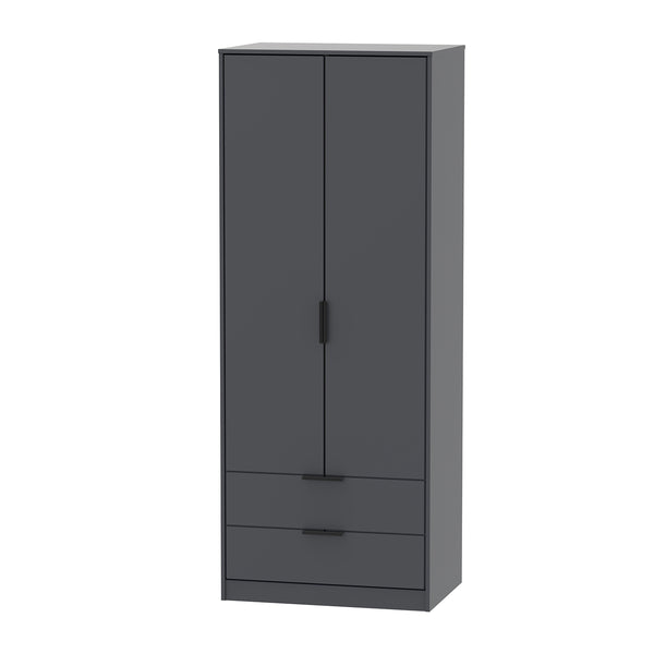 Graphite Wardrobe with 2 Drawers
