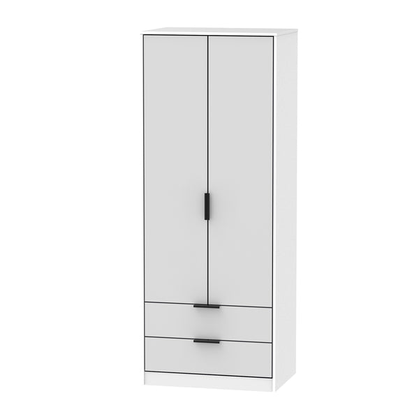Matt Grey & White Wardrobe with 2 Doors and 2 Drawers