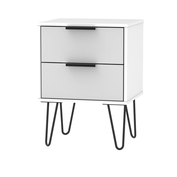 White & Grey Bedside Metal Looped Leg