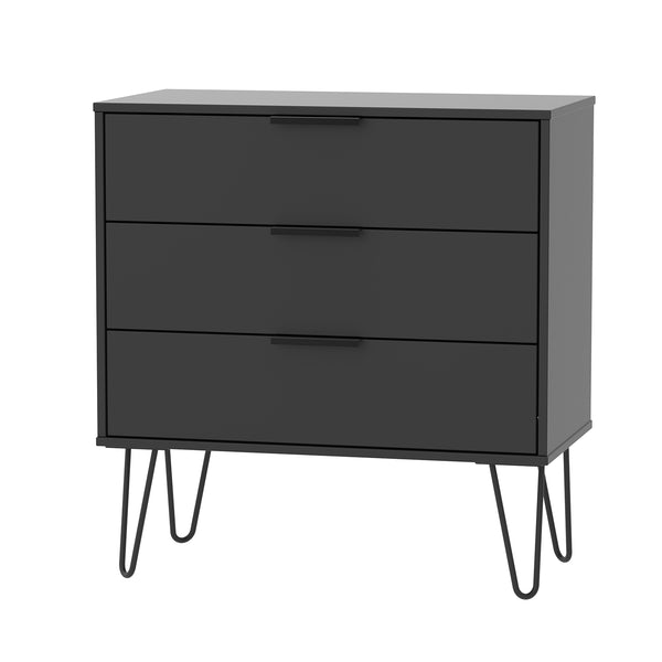 Black 3 Drawer Chest with Metal Hair Pin Legs