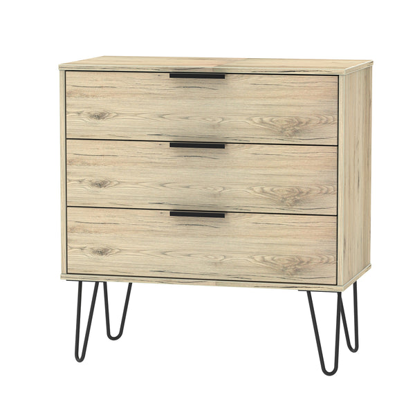 Oak 3 Drawer Chest with Metal Hair Pin Legs