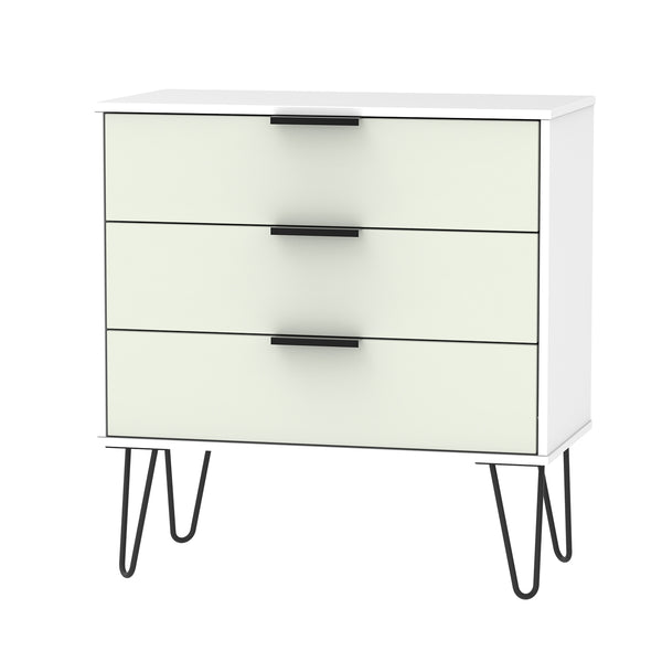Contrast Kaschmir & White Chest of Drawers with Black Hair Pin Metal Legs