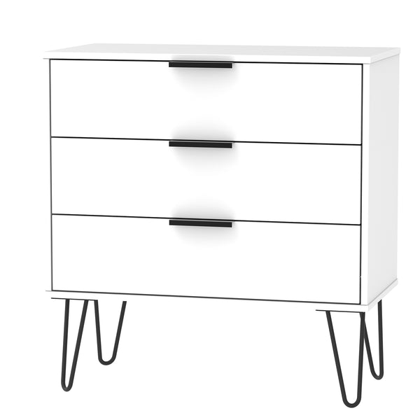 White 3 Drawer Chest with Black Hair Pin Legs