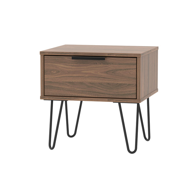 Walnut 1 Drawer Bedside Cabinet with Metal Legs