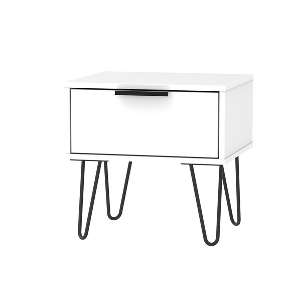 1 Drawer White Bedside Cabinet with Black Handle and Metal Looped Legs