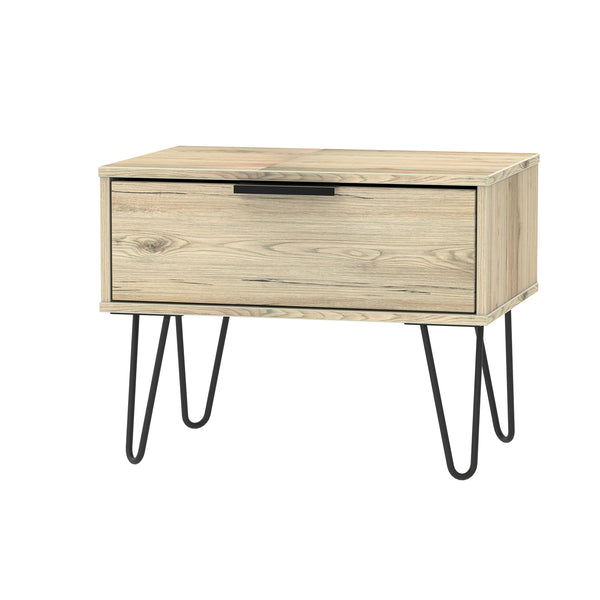 Oak 1 Drawer Midi Chest with Black Metal Legs