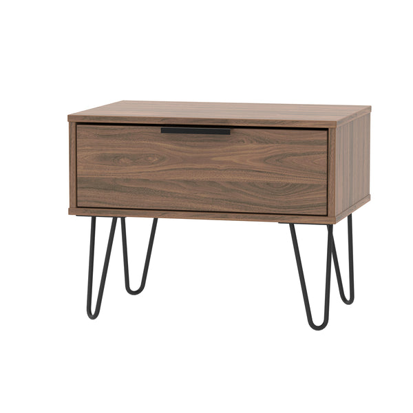 Walnut 1 Drawer Midi Chest with Black Metal Looped Legs