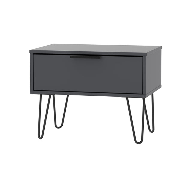 Graphite 1 Drawer Midi Chest with Looped Black Metal Legs