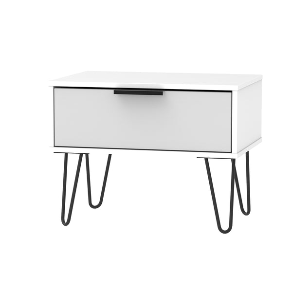 Matt Grey And White Midi Chest with 1 Drawer and Metal Legs