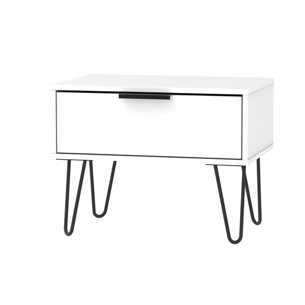 White 1 Drawer Midi Chest With Black Handle and Black Metal Legs