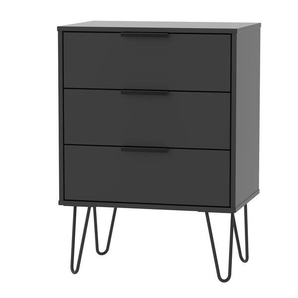 Black Midi Chest with 3 Drawers and Hair pin Legs