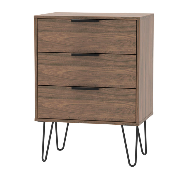 Walnut Midi 3 Drawer Chest with Metal Hair Pin Legs