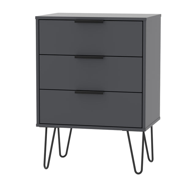 Graphite 3 Drawer Midi Chest with Black Hair Pin Legs