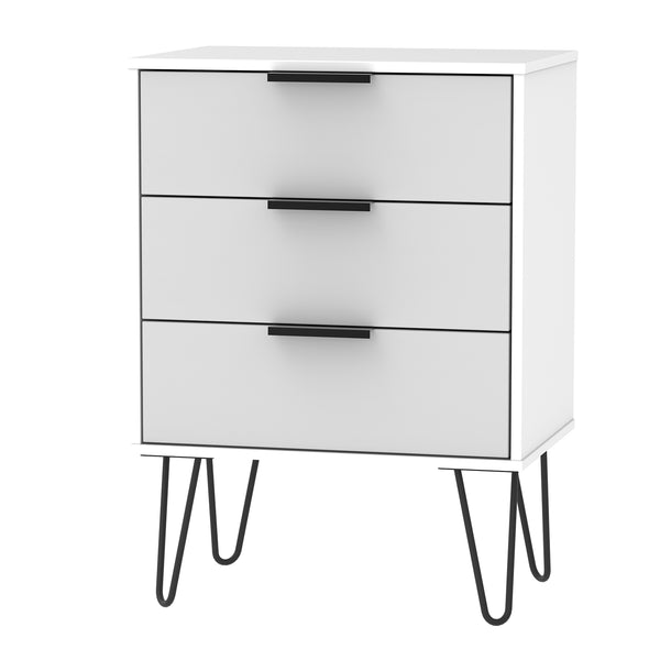 Grey ans White 3 Drawer Midi Chest with Hair Pin Black Metal Legs