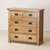 Auvergne Solid Oak Chest of Drawers - 3+2 Chest