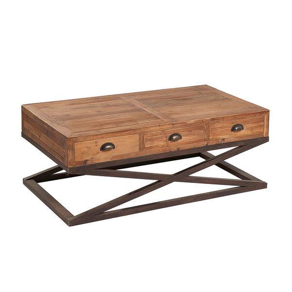 Lambs Green - Reclaimed Pine Coffee Table with 6 Drawers