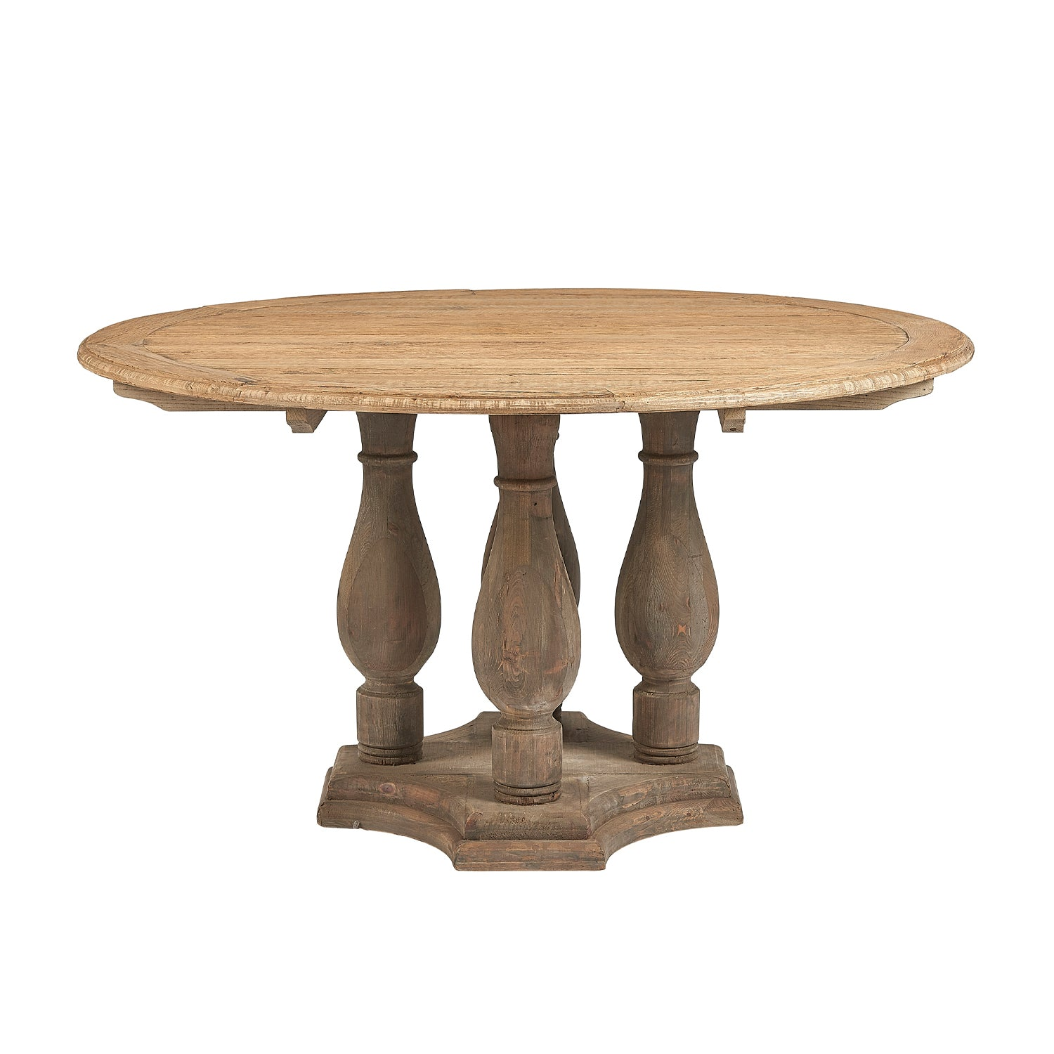 Lambs Green - Reclaimed Elm Round Dining Table with Pedestals