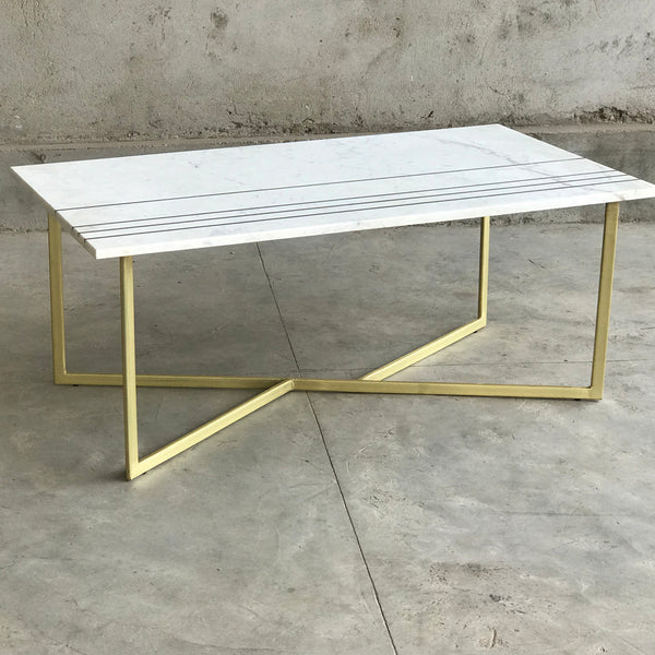Bonnie Rectangular Marble & Brass Coffee Table