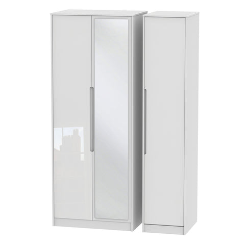 Chelsea Gloss - Tall Triple Mirrored Wardrobe