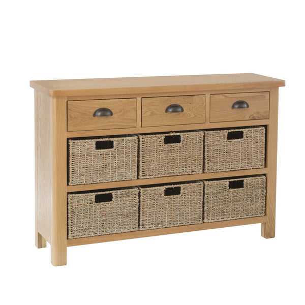 Pershore Oak Sideboard - 3 Drawer 6 Baskets