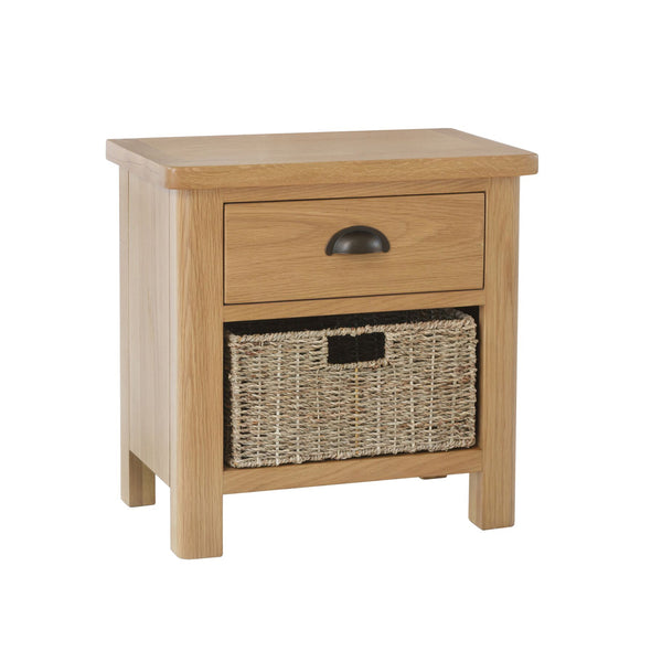Pershore Oak Side Table - 1 Drawer with Basket
