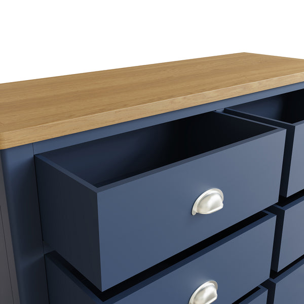 Pershore Blue Painted Chest of Drawers - 6 Drawer Wide