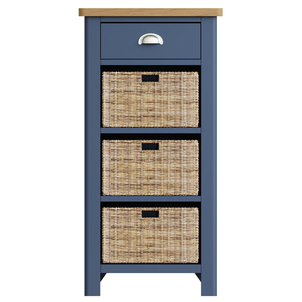Pershore Blue Painted Tall Side Table - 1 Drawer 3 Baskets