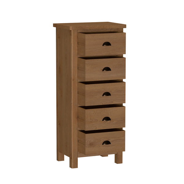 Pershore Oak Chest of Drawers - 5 Drawer Narrow