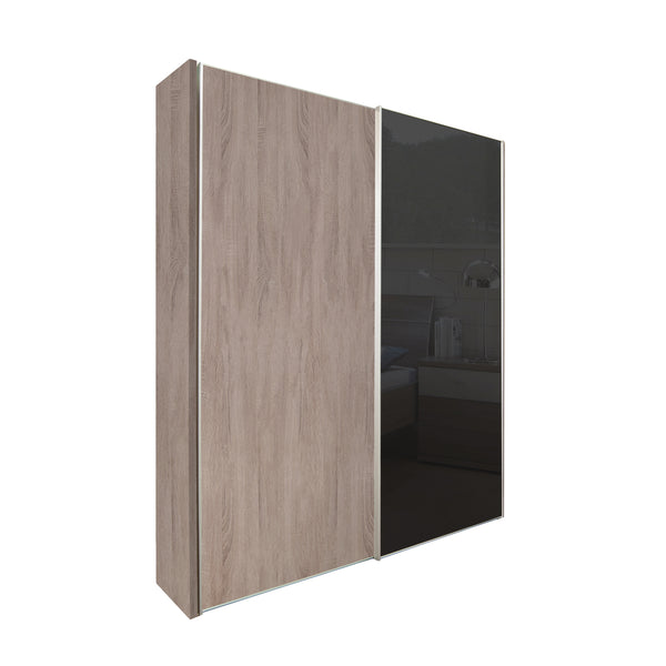 Chicago 200cm Wardrobe with Sliding Doors, 1 Black Glass Door