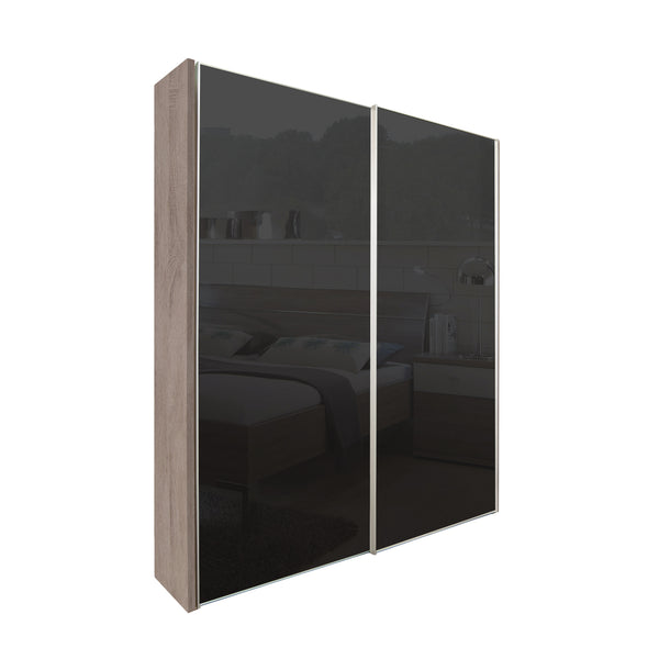 Chicago 200cm Wardrobe with Sliding Black Glass Doors