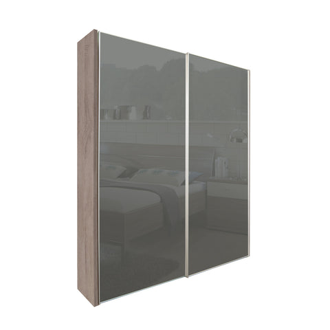 Chicago 150cm Wardrobe with Sliding Dark Grey Glass Doors