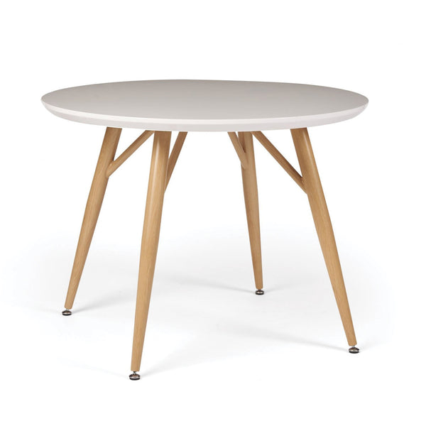 Herne Hill Round Dining Table, Oak Leg - White Gloss
