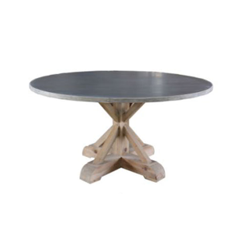 Burnham Reclaimed Dining Table - 150cm Round Antique Spot Zinc