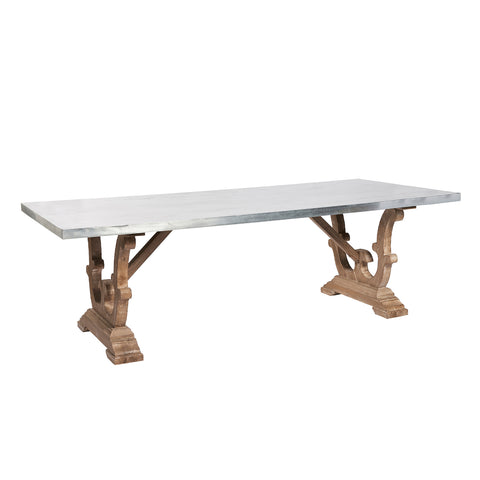 Burnham Reclaimed Dining Table - Zinc Top 244cm