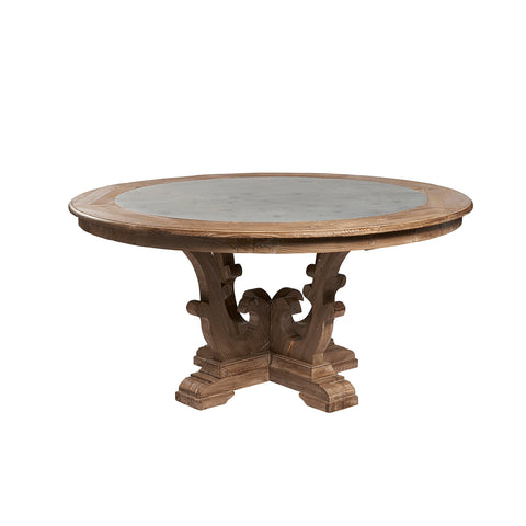Burnham Reclaimed Dining Table - 160cm Round Zinc