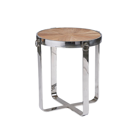 Burnham Reclaimed Occasional - Chrome Hoop Lamp Table