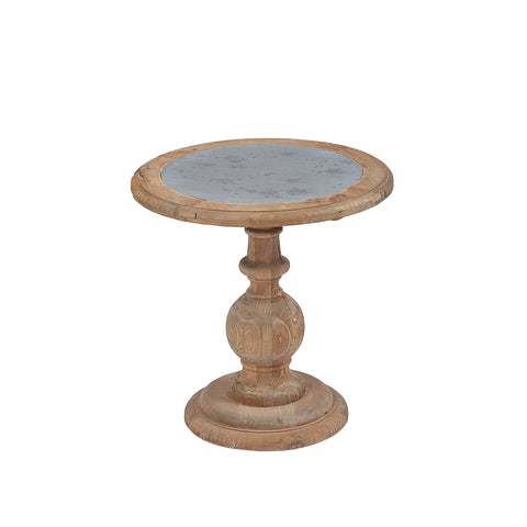 Burnham Reclaimed Occasional - Small Circular Zinc Top Lamp Table