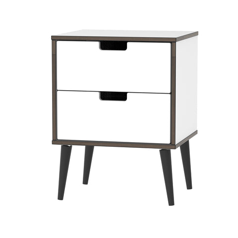 2 Drawer Bedside in White Gloss with Matt Base & Black Wooden Legs