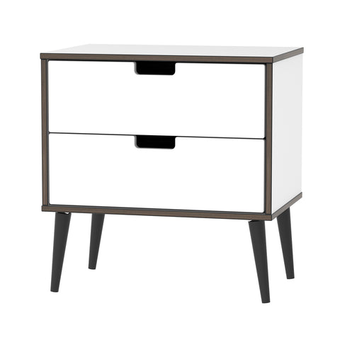 White Gloss 2 Drawer Midi Chest with Black Wooden Legs