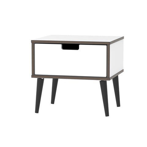 White Gloss Matt Base 1 Drawer Bedside with Black Wooden Legs