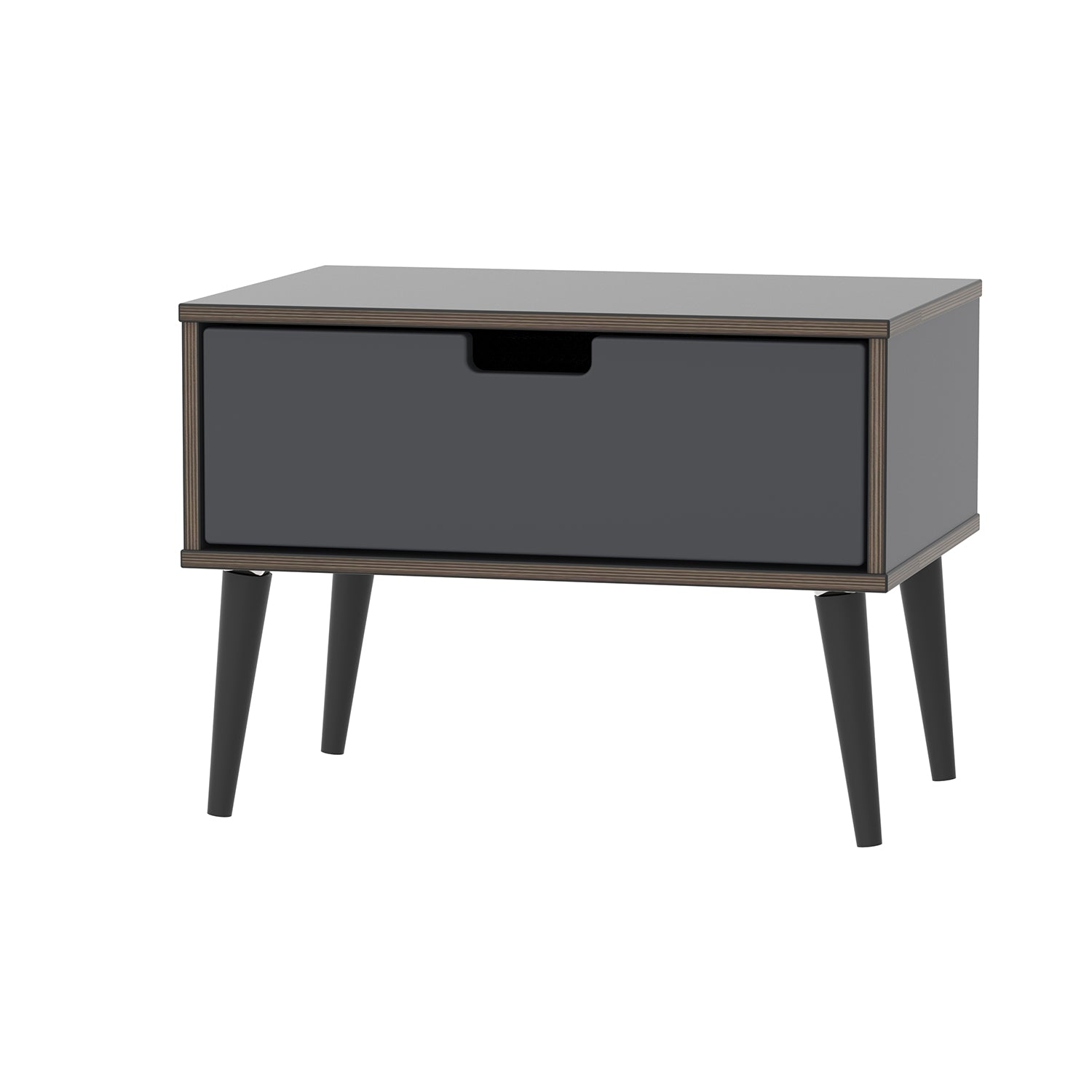 1 Drawer Midi Chest in Graphite with Black Wooden Legs